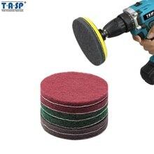 """TASP 5 """"125mm wiertarka z szczotka płytka do szorowania druciana gąbka zestaw do czyszczenia hak i pętli narzędzia ścierne-MSCP125"""