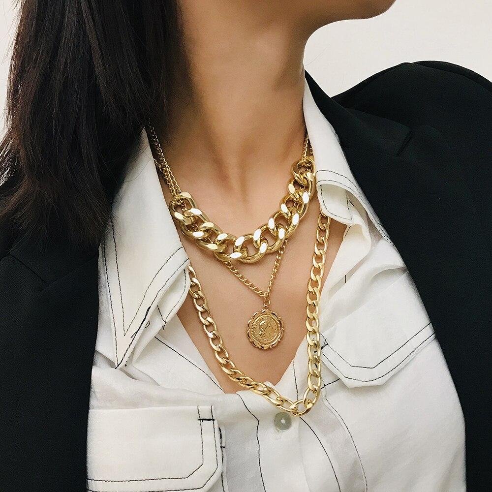 ¡Venta al por mayor! ¡moda 2019! Colgante con retrato de cabeza humana, collares para mujer, collar bohemio de Metal dorado con múltiples capas