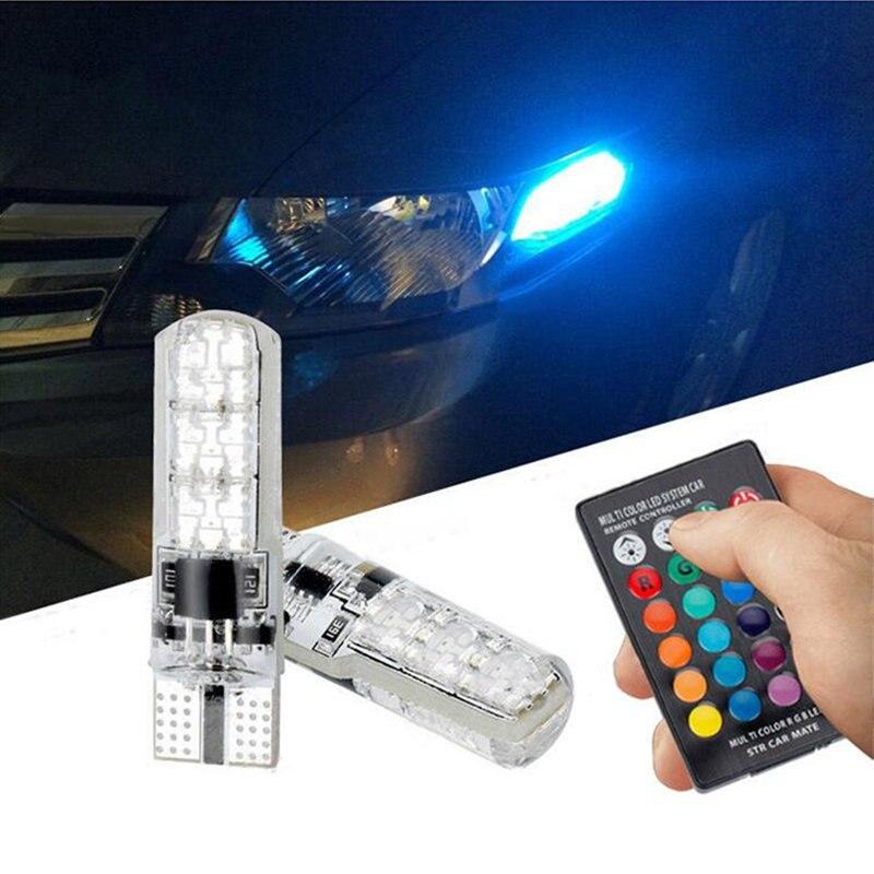 For Mitsubishi Asx Lancer 10 Outlander Pajero Sport l200 Colt Carisma Galant RGB T10 LED Car Parking Light Bulb Remote Control