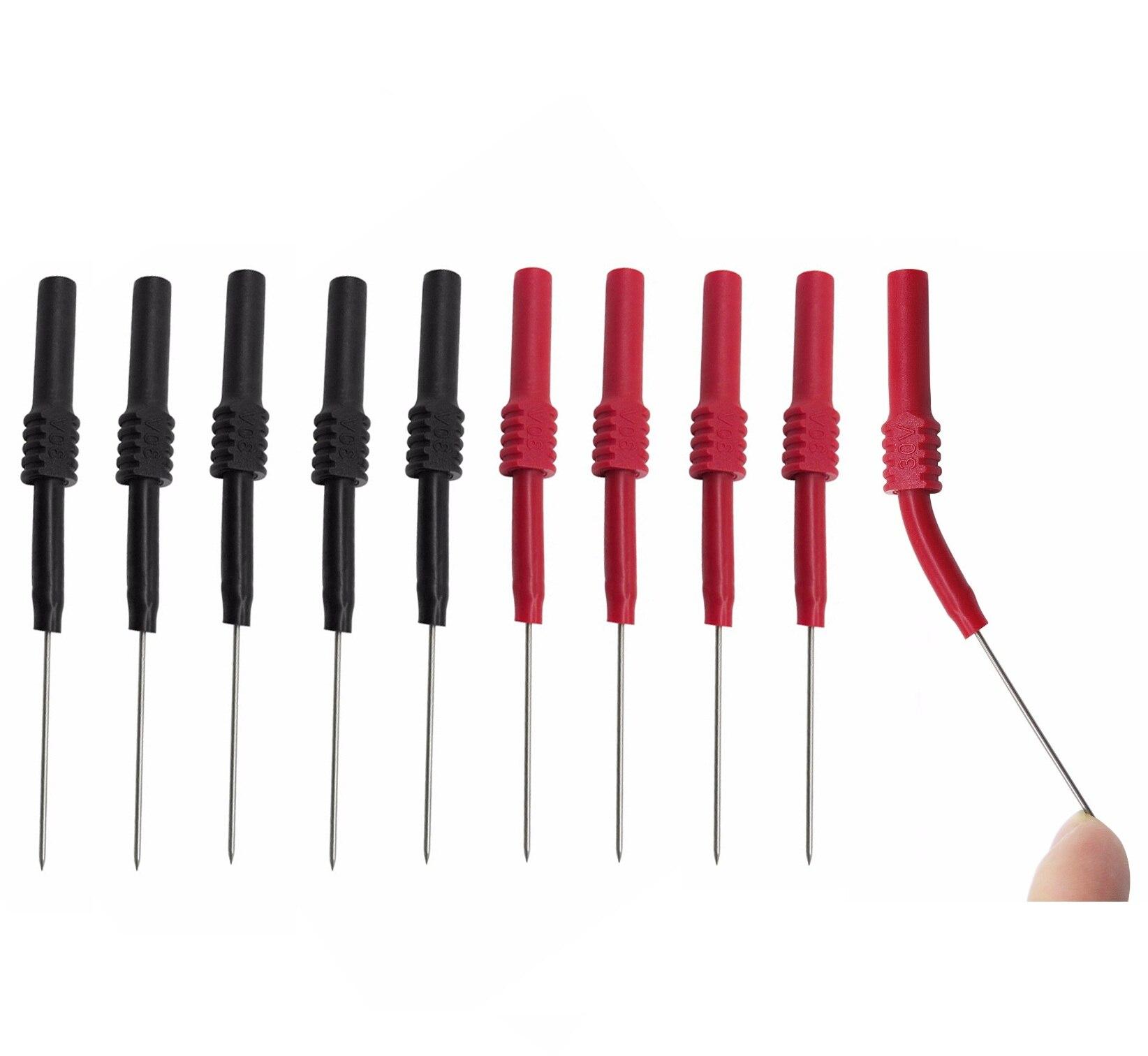 Cleqee P5009 4pcs Soft PVC Insulation Piercing Needle Non-destructive Multimeter Test Probes Red/Black