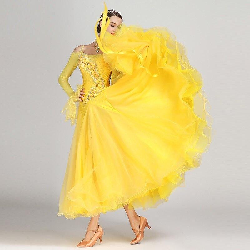 Lady Waltz vestido de baile chicas salón trajes de baile femenino traje de Danza moderna de manga larga diamante Ropa de baile D0755