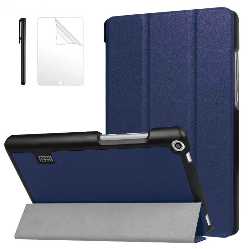 Funda de piel pu abatible delgada para Huawei MediaPad T3 7,0 BG2-W09 Tablet Funda para Honor Play Pad 2 7,0 tablet cubierta + película + bolígrafo