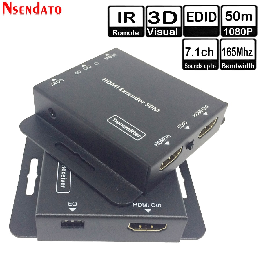 50m 164FT HDMI transmisor receptor transceptor sobre Cat 5e 6 IR EDID LAN Ethernet extensor HDMI para monitor HDTV reproductor de DVD
