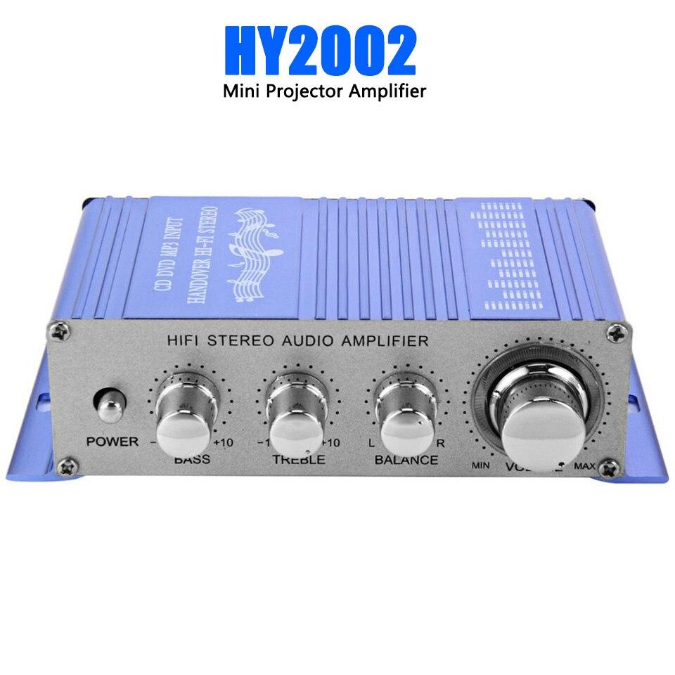 Mini amplificador FM de 12V HY-2002 para coche, Canal amplificador estéreo de Audio compatible con CD DVD MP3, entrada de altavoz para coche y motocicleta