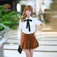 Summer Female Elegant Bow Tie White Blouses Chiffon Peter Pan Collar Casual Shirt Ladies Tops School Blouse Women