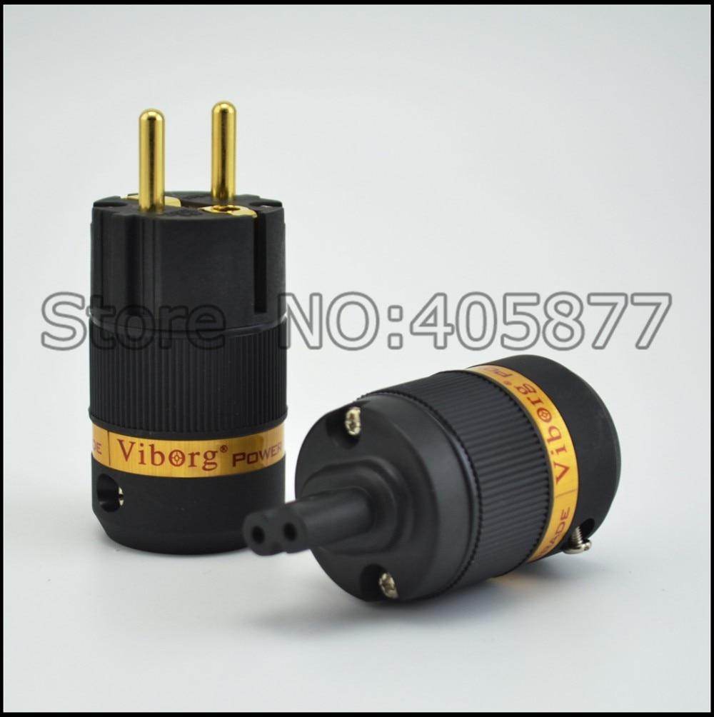 Par Viborg VE501G + VF508G conector de Áudio banhado a ouro Schuko plug power + IEC Figura 8 conector da ligação