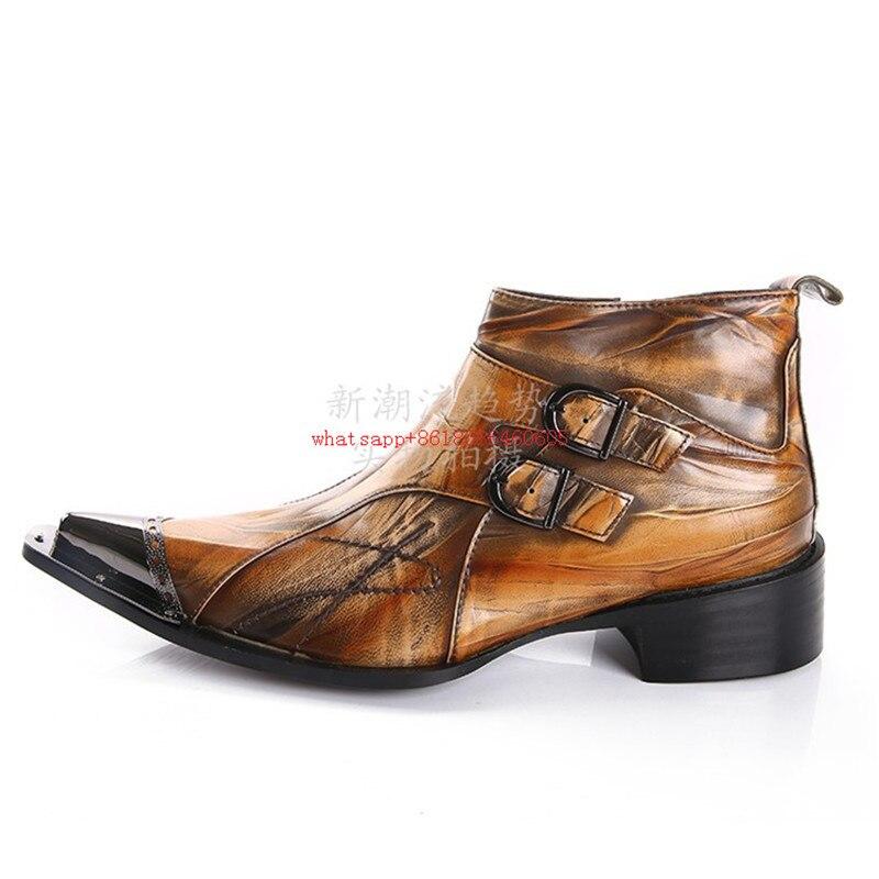 Zobairou marca de moda marrón tostado para hombres botas de doble hebilla zapatos de cuero genuino blando para hombres botas de vestir para hombres botines para hombres