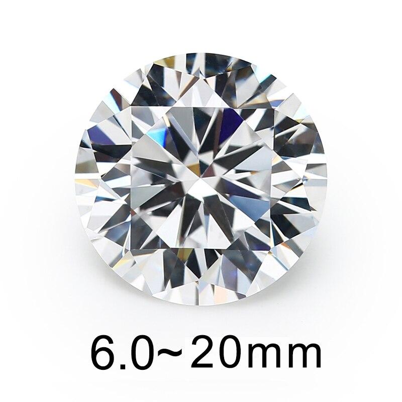 Größe 5mm 8mm 10mm (6 ~ 20mm) AAAAA Runde Brillant Weiß Größeren Zirkonia Steine Lose CZ Edelsteine Für Schmuck