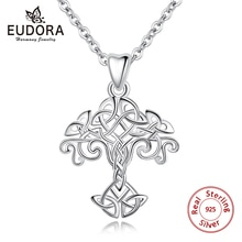Eudora 100% 925 Sterling Silber Baum des Lebens Halskette Anhänger Celtics Knoten Choker Frauen Kragen Für Frauen Mode Schmuck Geschenk