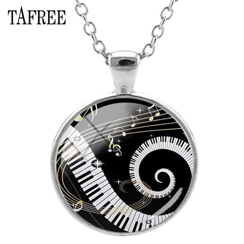TAFREE золотые подвески для музыкальных нот и фортепианных ключей, ожерелье, новые массивные ожерелья, музыкальные фанаты, мужские и женские ювелирные изделия KB47