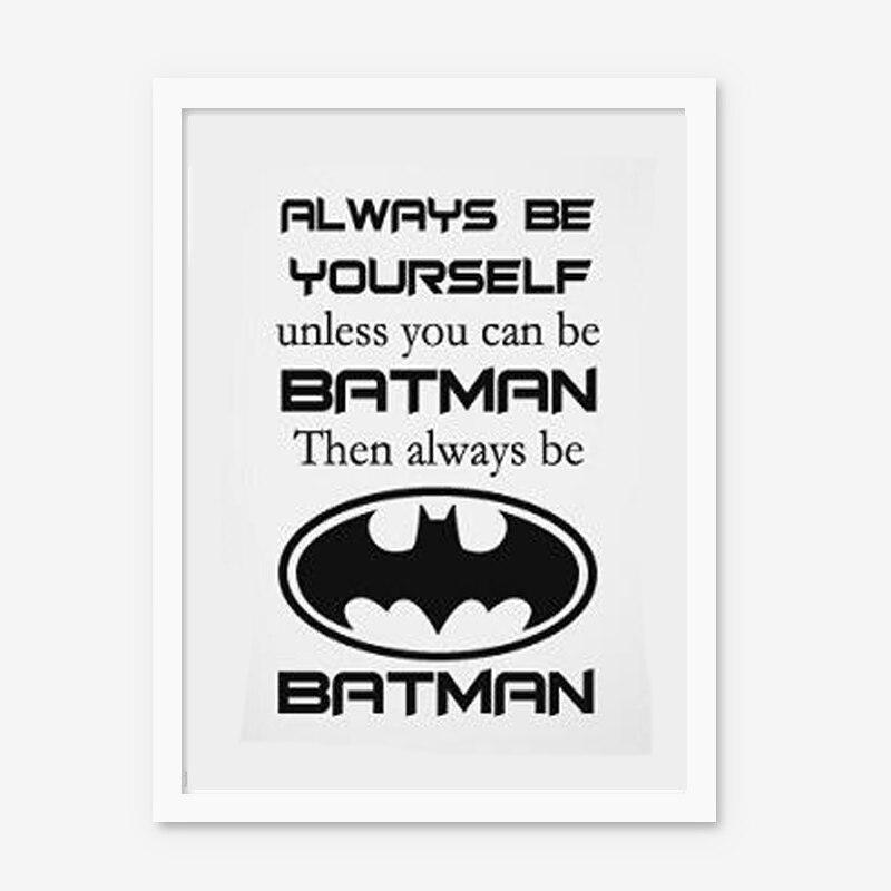 Imágenes de la pared del cartel de la impresión del arte de la lona de la cita de Batman para la decoración del hogar sin marco