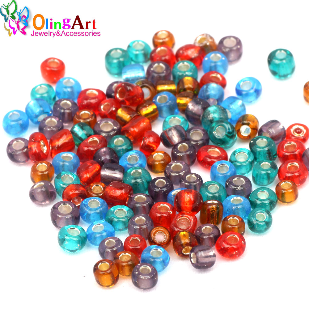OlingArt 4MM-2 cuentas de semillas de vidrio multicolor mixto 20 g/bolsa cuenta espaciadora para manualidades pendientes pulsera gargantilla collar fabricación de joyas