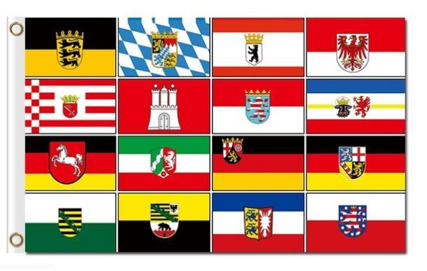 3 x Bandeira de Estados Alemães 16 Bundeslnder 5 Alemanha Bandeiras