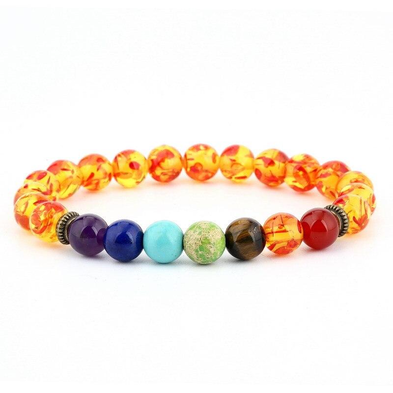 Cuentas de Arcoiris de Yoga bohemio de alta calidad, pulsera de Chakra de piedra roja Natural para hombres, mujeres y niñas, regalo hecho a mano, joyería de rosario