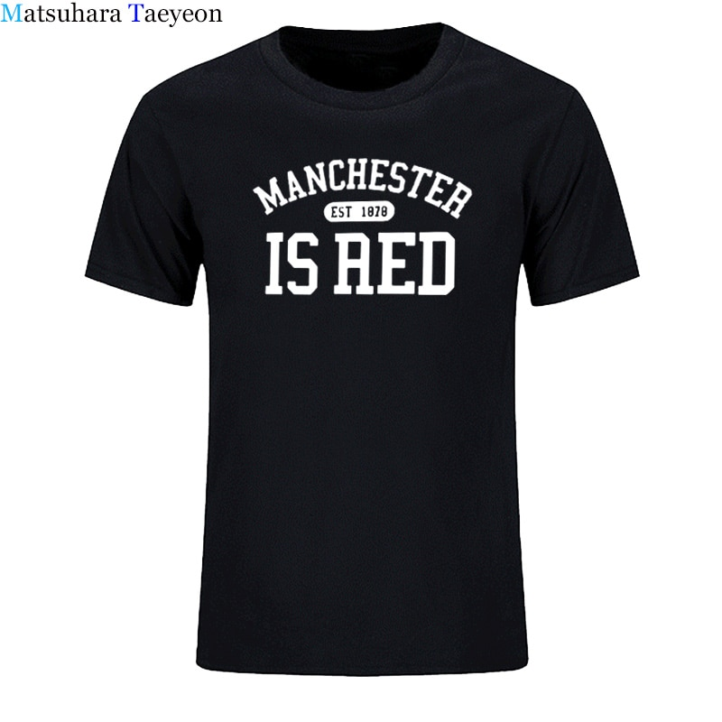New United Kingdom Red Letter Short Sleeve T Shirt Men 100% Cotton O-Neck Manchester Tee Shirts Print Masculina tee clothing