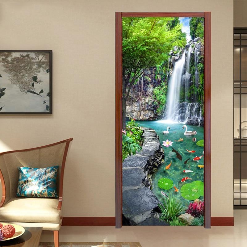 Custom 3D Mural Wallpaper Waterfall Pond Bedroom Landscape Decor Photo Wallpaper Sticker PVC Self-Adhesive Door Murals Stickers