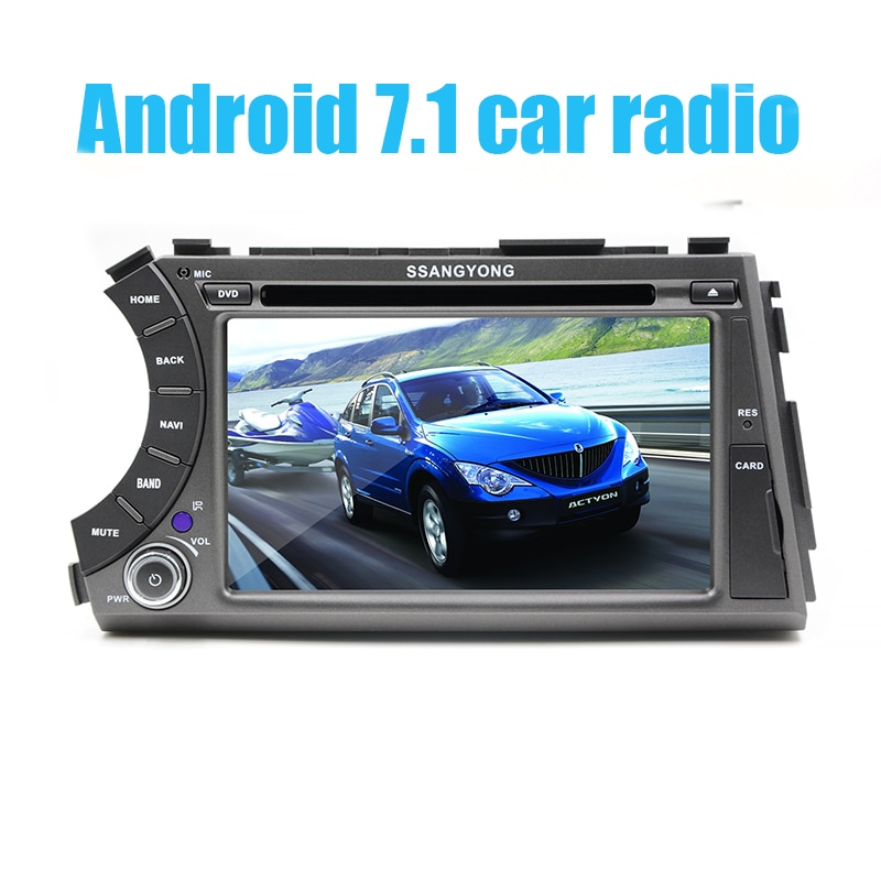 "7 ""2 din Android 7,1 coche dvd gps quad core estéreo para ssangyong Kyron Actyon 4G Wifi BT soporte dvr OBD2 1024x600 ruso"