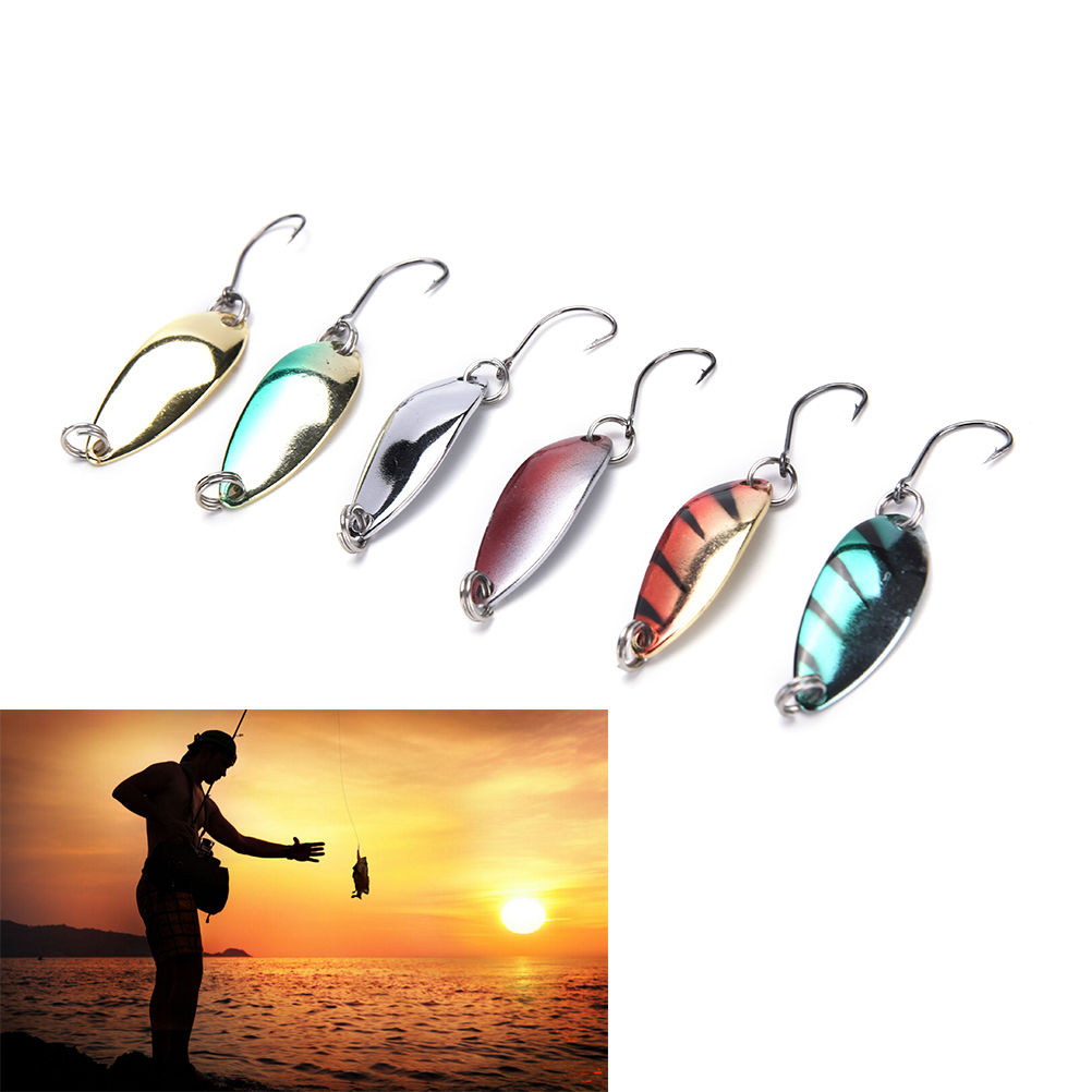 5 pçs/lote novo metal isca de pesca colher isco duro iscas de pesca lantejoulas paillette iscas único gancho ferramentas de pesca cores aleatórias
