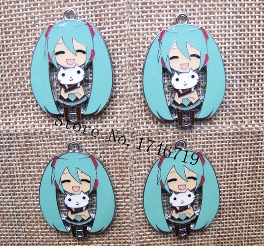 Gran oferta de 10 Uds. De colgantes de dibujos animados de Anime japonés Hatsune Miku, accesorios para hacer joyas DIY para el mejor regalo PY-12