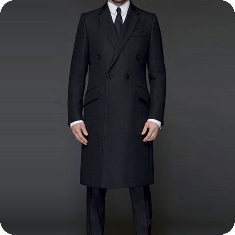 Black Long Jacket Classic Men Suits Double Breasted Custom Made Formal Men Suit Male Blazers Pants 2 Piece Costume Homme Ternos