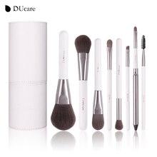 DUcare 8 pièces Ensemble de brosse De Cosmétiques Pinceaux de maquillage professionnels top Cheveux Synthétiques Manche en bois Naturel Avec Cylindre Blanc