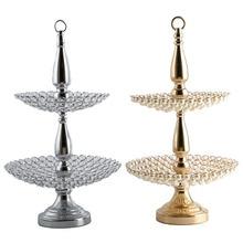 Support de gâteau de mariage en perles/cristal   Plaques de chargeur de plateau de fruits et noix pour la décoration de Table à la maison