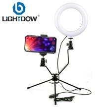 "Lightdow 16cm 6""inch LED Selfie Ring Light  3 Color Lighting Dimmable With Mini Tripod V Mount For Live Steam Studio Make Up"