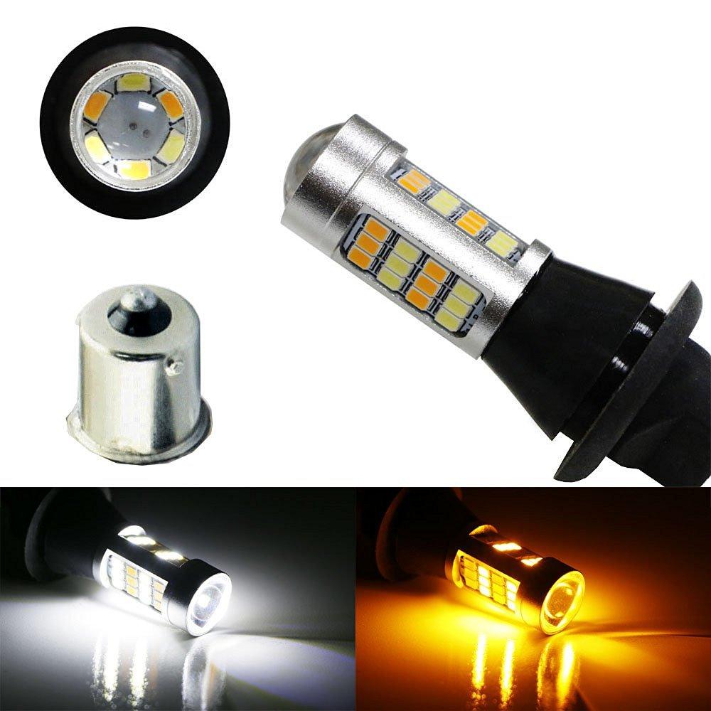 1156 P21W S25 BA15S LED DRL Switchback blanc y ambre tour signaux lumineux