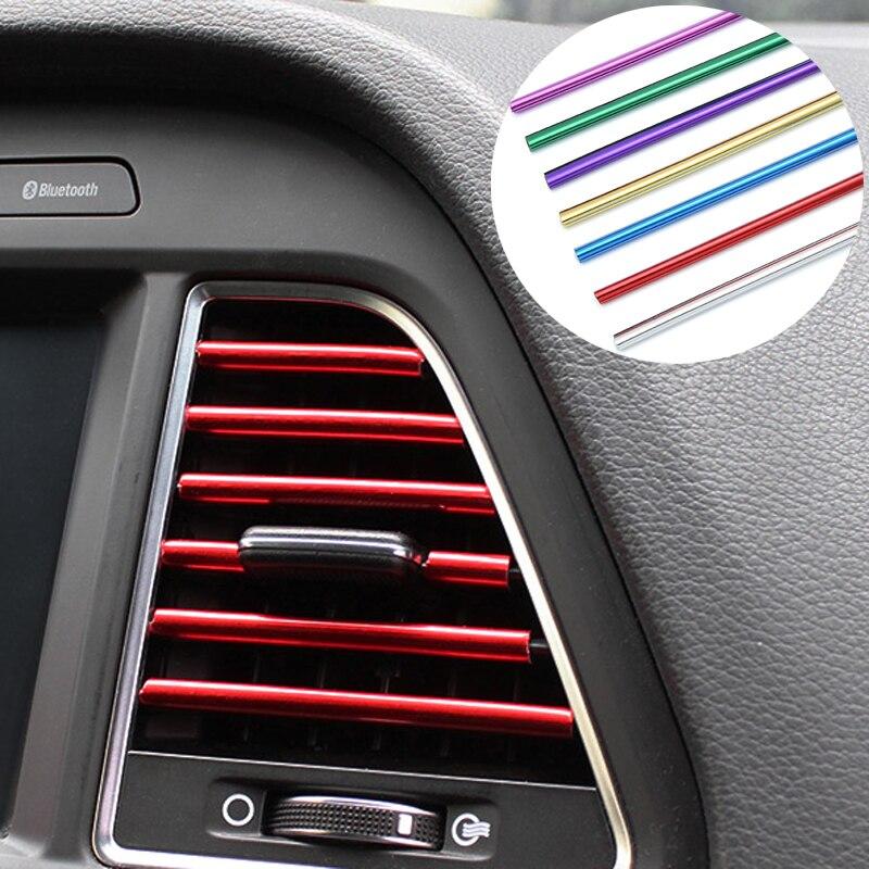 Car Interior Ar Condicionado Saída de Ventilação Grille Decoração Chrome Faixa Para Ford Focus Fiesta Mondeo Kuga 2 3 Citroen C4 c5 Golfe