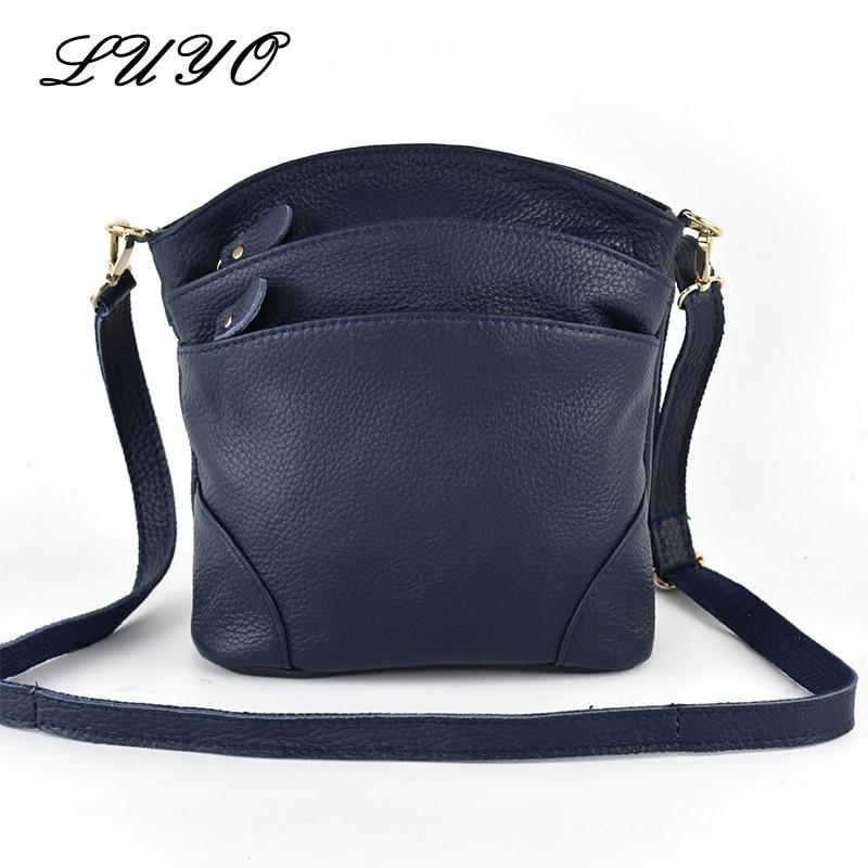 LUYO First Layer High Quality Genuine Cow Leather Shoulder Bags Flap Women Mummy Casual Messenger Bag Handbag Female Crossbody