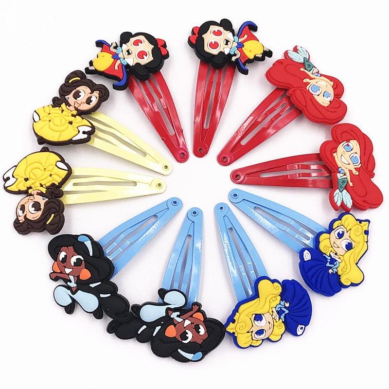 10 stücke Mädchen Prinzessin Bella Schnee Weiß PVC Cartoon Haarnadeln Haar Zubehör Haarspange Haar Clips Haar pin Kinder Headwear