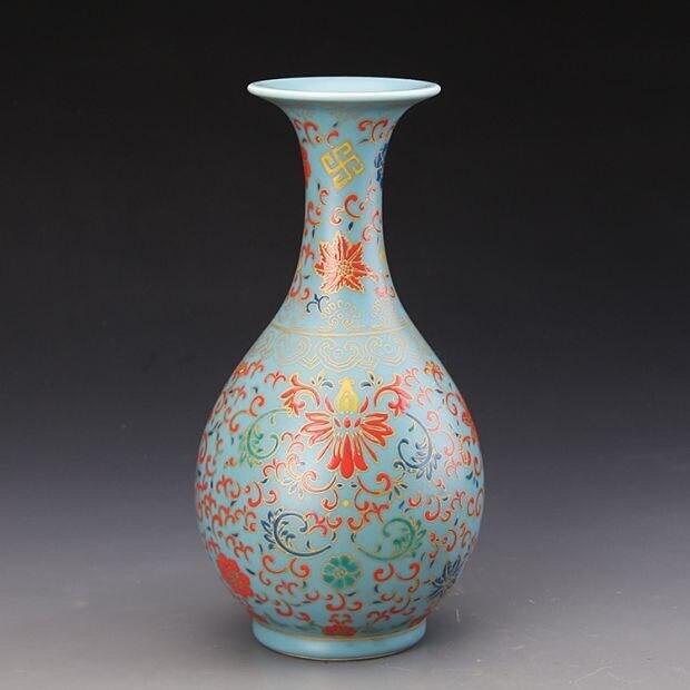 Yong Zheng cielo claro azul pintura esmaltada ridge patrones yu-hu-chun jarrón de porcelana antiguo decoración floral decoración hogar Furni