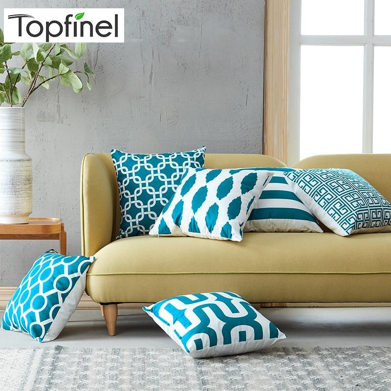 Topfinel geométrico impresso capa de almofada cerceta almofadas decorativas lance almofadas capas de almofada para sofá assento cadeira microfibra