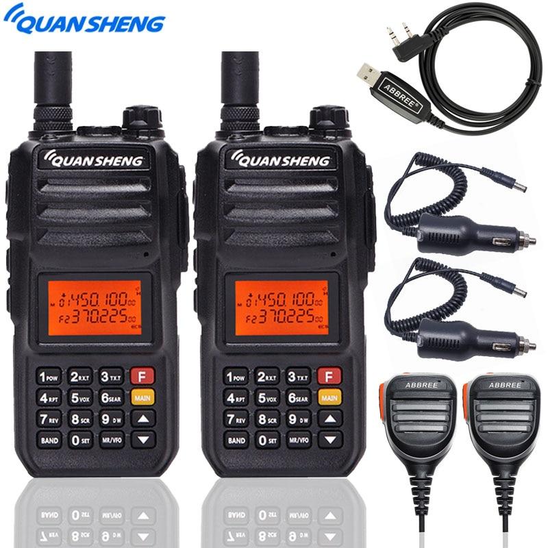2PCS Quansheng TG-UV2 PLUS Walkie Talkie 10W 5 Bands (136-174MHz/350-390MHz/400-470MHz) 4000mAh Battery Powerful Ham Radio
