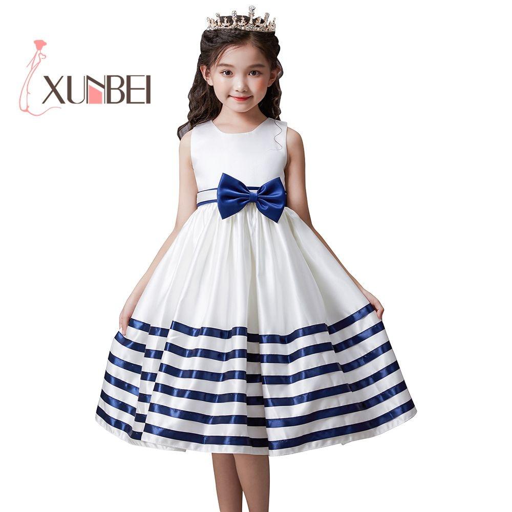 Lovely Princess Tea Length Flower Girl Dresses 2019 Bow Kids Pageant For Girls Communion Party