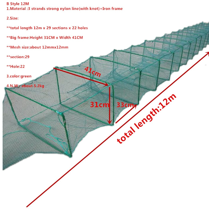 strong frame 9m-12m 27sections fish cage fishing net outdoor tool red de pesca fishing network Shrimp cage crab cage armadilha enlarge