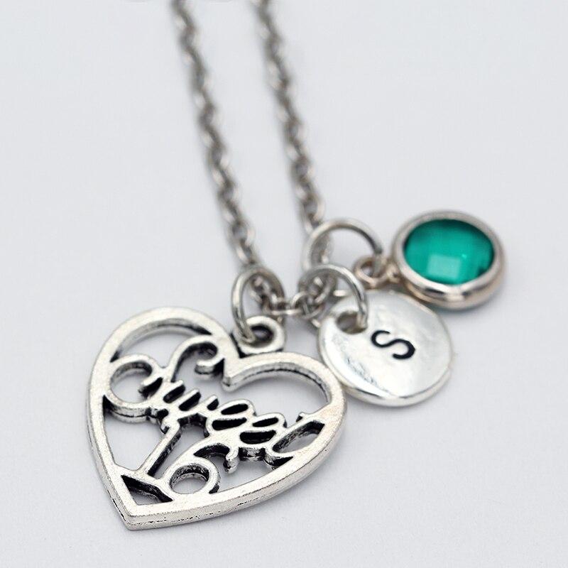 Colgante de 16 corazones/Collar de piedra de nacimiento/collares de letras de A Z/COLLAR COLGANTE/Joyería de moda para mujeres