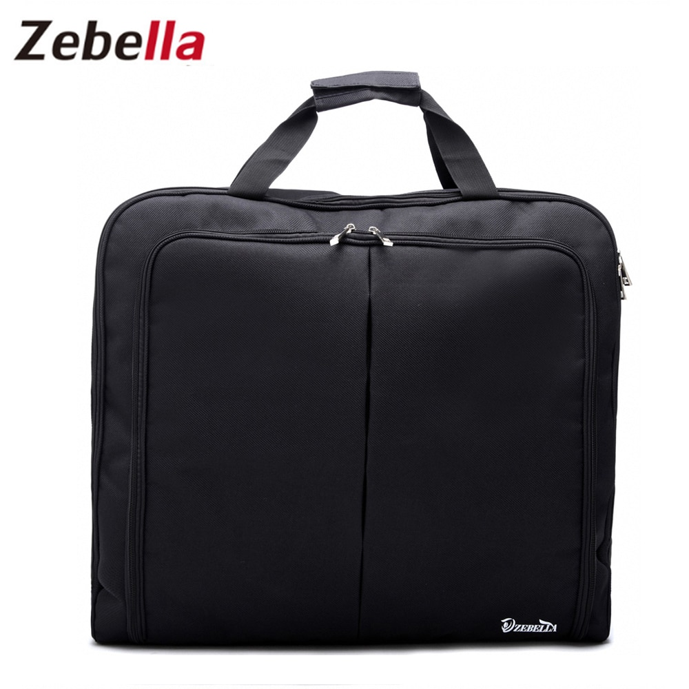 bagsmart waterproof black nylon gown garment bag for traveling with handle lightweight suit bag business men ravel bags for suit Zebella Waterproof Black Zipper Garment Bag Suit Bag Durable Men Business Trip Travel Bag For Suit Clothing Case Big Organizer