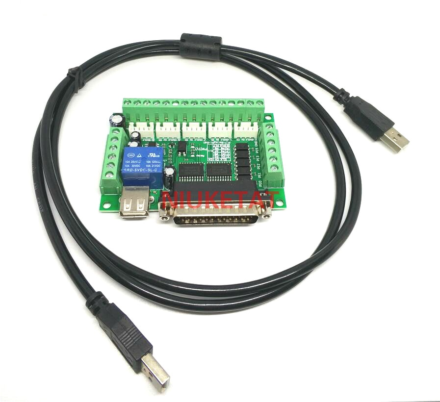 1/set MACH3 graviermaschine 5 5-achs-cnc-breakout Board Mit Optokoppler Für Schrittmotorantrieb controller + usb-kabel