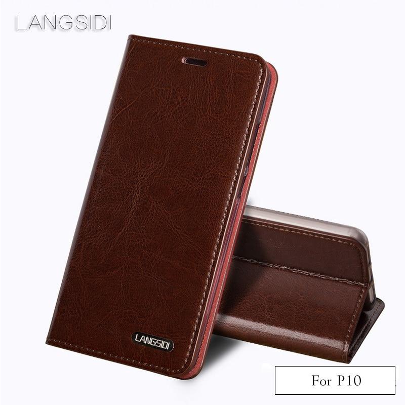 Wangcangli de cuero genuino cubierta de tres tarjeta aceite cera de cuero funda de teléfono para Huawei P10 teléfono caso hecho a mano