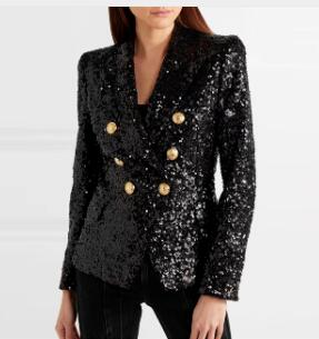 De calidad superior de moda de manga larga negro doble Breasted chaqueta celebridad Slim chaqueta de moda