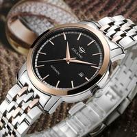 Simple Designer Businessmen Mechanical Watches Self-winding Stainless Steel Wrist watch Calendar Statement Watch Analog Relogios