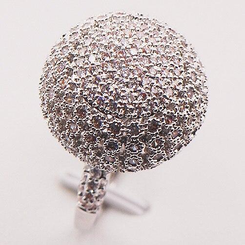 خاتم نسائي من الفضة الإسترليني عيار 925 مرصع بالكريستال الأبيض ، خاتم كبير الحجم 7 8 9 10 F583 ، مجوهرات بالجملة ، شحن مجاني