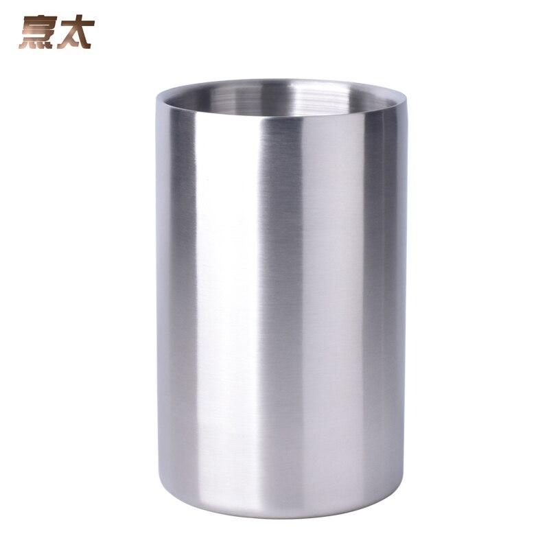 Cubo de hielo de acero inoxidable de doble pared con buena calidad de 1,6 l, práctico contenedor de Bar, refrigerador para vinos en barril, barril de champán, barril de Whisky