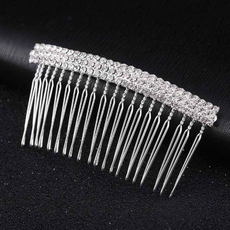 Peineta Simple de lujo de Color plateado de cristal para boda, tocado moderno de diamantes de imitación para dama de honor, accesorios para novia, joyería