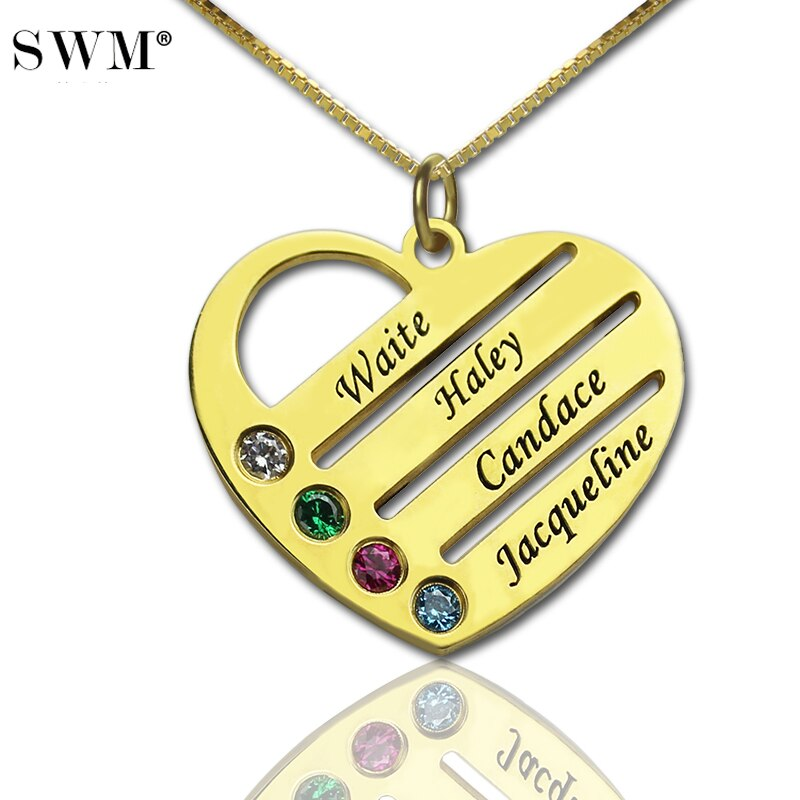 Joyería para mujer, collar de nombre personalizado, joyería, Collares de piedra de Color dorado, colgante de corazón de amor, collar para regalo para mamá