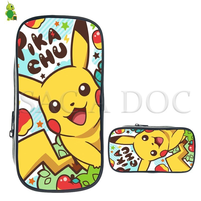 Bolsa de cosméticos Pokemon Pikachu Jigglypuff, caja de lápices grande para niños y niñas, bolsas de almacenamiento de papelería, suministros escolares, bolsa de maquillaje