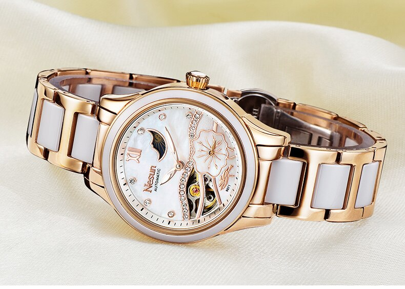 New Switzerland Nesun Hollow Tourbillon Women Watch Luxury Brand Clock Automatic Self-Wind Wrist Waterproof Ladies Watch N9071-1 enlarge