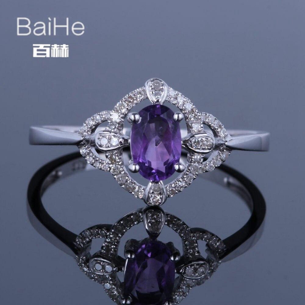 BAIHE Plata de Ley 925 0.5CT amatista Natural ovalada regalo de boda mujeres de moda elegante único Vintage diamante amatista anillo