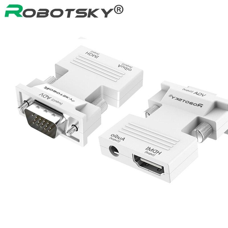 Адаптер Robotsky HDMI в VGA с разъемом AV для ТВ-приставки XBOX360 PS3